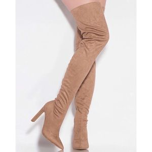 LILIANA  SPLICE-1 THIGH HIGH TAUPE SUEDE BOOTS